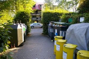 Zona de contenedores, en la que se separa prácticamente todo