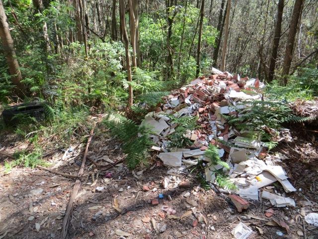 Vertido de escombros en un camino