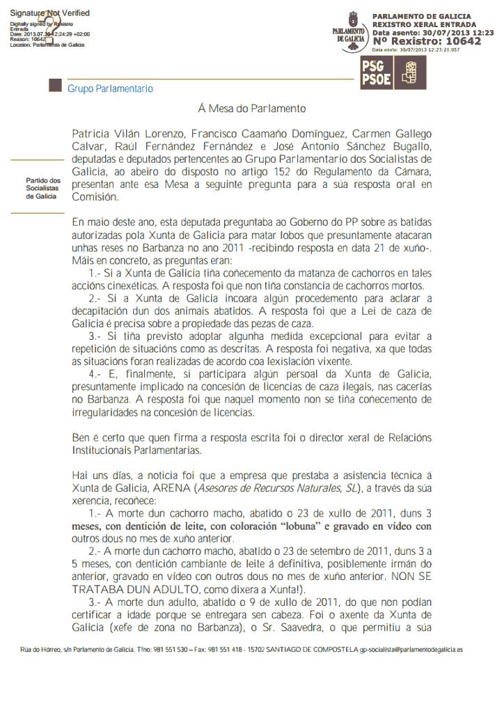 Preguntas del PSOE sobre el lobo del Barbanza