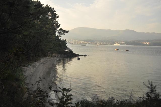 Playa ballena con Pobra de fondo
