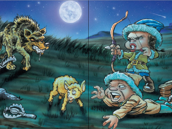Jara la Cazadora matando lobo