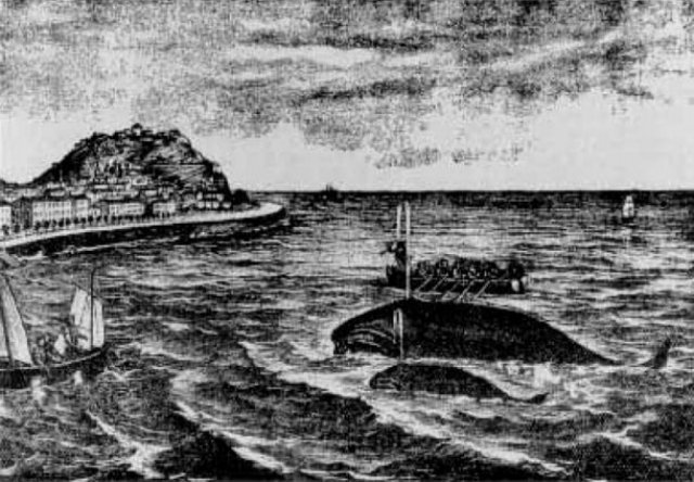 Caza ballena desembocadura rio Urumea finales XIX